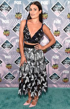 Teen Choice Awards 2016: The Best and Boldest Looks - Lea Michele in a Self-Portrait black crop top and midi skirt