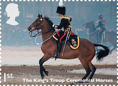 Royal Mail issues set of stamps saluting working horses ~ The famous horses of the King's Troop Royal Horse Artillery are the subject of another stamp. This ceremonial unit has responsibility for firing gun salutes on state occasions and has delighted many horse enthusiasts with it's musical drive demonstrations. Horse & Hound