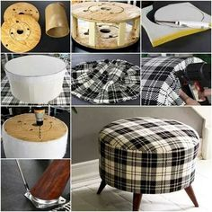 How to DIY Shelly& Salvaged Spool Ottoman ---- More DIY Ideas ---- This plaid ottoman looks so adorable for home that you cannot believe it was made of recycled wire spool. It is so well repurposed that it's like… Handmade Ottoman Using A Wire Spool C Furniture Projects, Furniture Making, Furniture Makeover, Diy Furniture, Furniture Design, Bedroom Furniture, Art Projects, Chair Makeover, Handmade Furniture