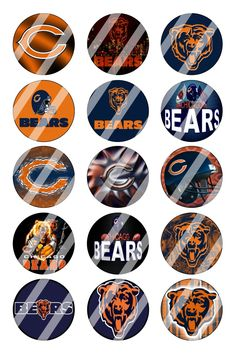 """Chicago Bears Bottle Cap 1"""" Circle Images Sheet #1 (instant download or pre cut)"""