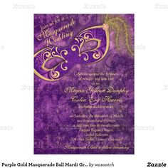 Purple Gold Masquerade Ball Mardi Gras Wedding 5x7 Paper Invitation Card - **EXPLORE some Amazing Theme Match Sets ! GO TO ...  http://www.Zazzle.com/WeddingInvitationKit