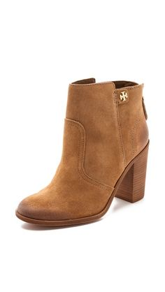 Tory Burch brown suede ankle boots.