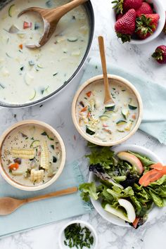 Creamy chowder with summer zucchini, carrot, and corn fresh off of the cob. With a touch of cream and some sharp white cheddar this soup scores 100%