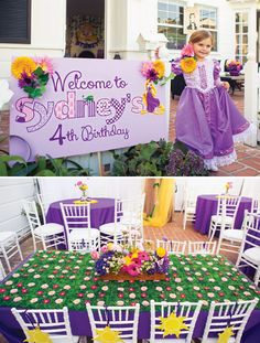 grassy flower table and welcome sign