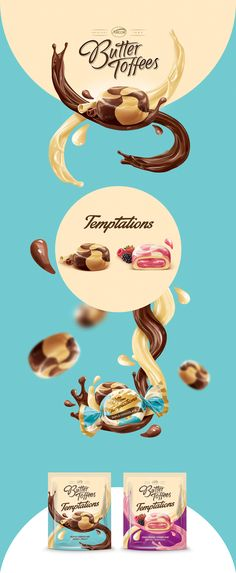 Arcor Butter Toffees on Behance Food Packaging, Packaging Design, Pistachio Butter, Butter Toffee, Chocolate, Behance, Graphic Design, Layout, Tips