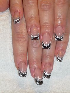 Black French with White Lace Manicure