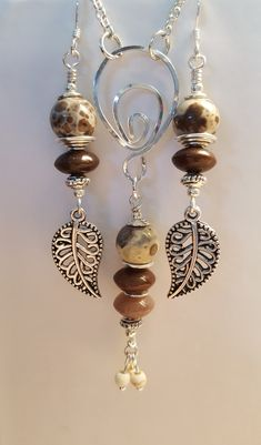 Sterling earrings and necklace featuring Snowflake Jasper.