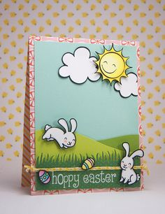 Lawn Fawn - Happy Easter, Sunny Skies, Pink Lemonade paper, Lawn Trimmings _  card by Yainea