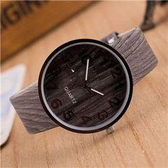 Fashion vintage leather Wood grain Analog ladies quartz-watch hour clock female watch women montre femme orologi donna
