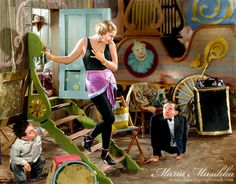 Olga Baclanova as Cleopatra, Angelo Rossitto as Angeleno, and Johnny Eck as the Half Boy in the 1932 horror movie Freaks, directed by Tod Browning ~~ colourised by Maria-Musikka