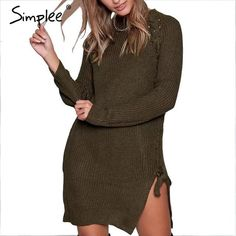 Elegant lace up winter sweater women casual knitting split pullover chic  elastic army green jumper b7ba7ccba