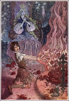 """Illustration by Charles Folkard (English, 1878-1963) for 'The Princess and Curdie"""" by George MacDonald."""