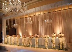 Wedding decoration - loving the drape and the chandeliers!!!