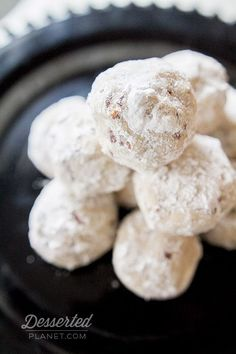 Mexican Wedding Cookies. SO GOOD! reminds of cookies my mother made when I was little. They are a melt in your mouth pecan shortbread. Not too sweet... the conf sugar on outside is perfect :)