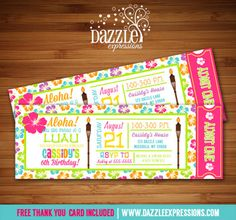 Printable Luau Ticket Birthday Invitation | Girl Summer Birthday Party Idea | Hawaii | Pool Party | FREE thank you card included | Banner | Cupcake Toppers | Favor Tag | Food and Drink Labels | Signs |  Candy Bar Wrapper | www.dazzleexpressions.com