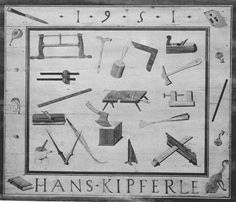 table by Hans Kipferle are (clockwise): a frame saw, an auger, a mallet, a try square, a smoothing plane, a claw-hammer, a wooden screw-clamp, a chisel, a straight bevel crossed with what seems to be a depth measuring tool, a bench support, an axe, a shoulder-knife, a compass, a gluepot, a moulding plane, a rule, a double marking gauge and finally in the middle the work bench on which another hammer and chisel are shown as well as some bench hooks.