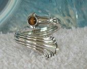 Vintage Sterling Silver Skeleton Key Bypass Spoon Ring