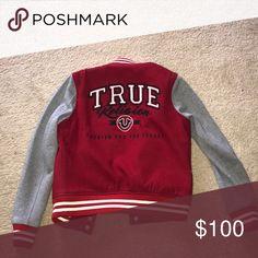 Red/Grey True Religion Varsity Jacket True to size True Religion Jackets & Coats Red And Grey, True Religion, Bae, Coats, Baseball, Sweatshirts, Sweaters, Jackets, Closet