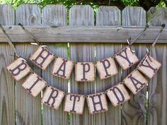 Happy Birthday Burlap Banner, Rustic Birthday Banner,  Adult Birthday, Childrens Birthday, Cowboy Birthday, Farm Barn Syle Banner door BannerBlitz op Etsy https://www.etsy.com/nl/listing/150615966/happy-birthday-burlap-banner-rustic