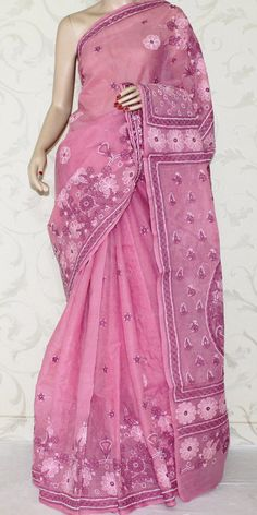 Lucknowi Chikan Saree (W/B-Cotton) 12890