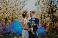 smoke bomb, wedding smoke bomb, blue smoke bomb, Wedding Photography Northumberland - Healey Barn, Chris Randle Photography, DIY wedding, barn wedding, northumberland wedding,