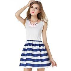 Fashion Women Summer Navy Cotton Dress Sleeveless Polyester Size S-Xl Waist