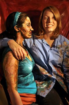 "Alexa Meade with one of her ""living paintings"" (paint applied to real person)."