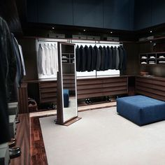 Beautiful Brown Wood Male Closet With Mirror