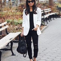 Keep your work week chic a la @viewfrom5ft2's glam accessories and pop white blazer combo | Shop her look with a 'like' by signing up at www.LIKEtoKNOW.i | http://liketk.it/2ql1b #liketkit