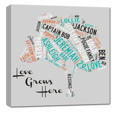 Family Tree Canvas Art - Perfect gift idea for Parents or Grandparents.