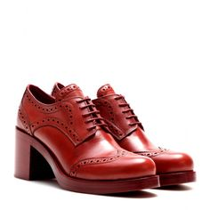 Miu Miu - Leather brogue pumps - Miu Miu has given brogues a feminine twist with a chunky heel. The update of the classic style is crafted from sleek red leather for a sophisticated look. Team yours with black stockings and a leather skirt for a polished finish. seen @ www.mytheresa.com