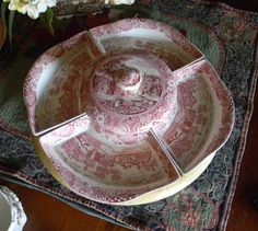Red English Transferware Lazy Susan
