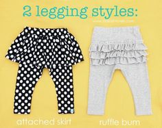 DIY Clothes Refashion: DIY 2 Legging Styles: Attached Skirt and Ruffle Bum DIY Clothes DIY Refashion DIY Sew