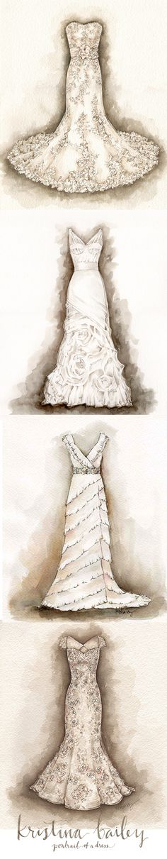 A Series of Wedding Dress Portrait Paintings by Kristina Bailey #weddingdress #wedding #gift #firstanniversary