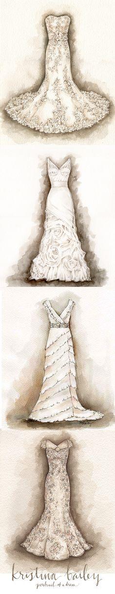 A Series of Wedding Dress Portrait Paintings by Kristina Bailey #weddingdress #wedding #gift #firstanniversary