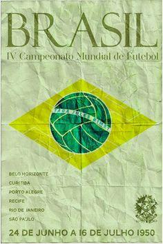 Poster mundial de fútbol. #Brasil 1950 #FIFA #Mundial #Fútbol #Diseño http://creativittaagencia.blogspot.com/2014/07/posters-world-cup-1930-2014.html