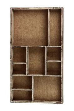 White Washed Mondrian Wooden Wall Shelf