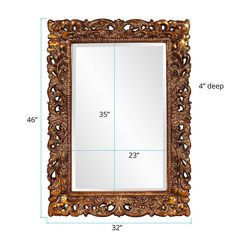 Rectangular Antique Gold Resin Frame Ornate Mirror, Mirrors, Custom Items, Antique Gold, Wall Mount, Decorative Pillows, Oversized Mirror, Antiques, Frame
