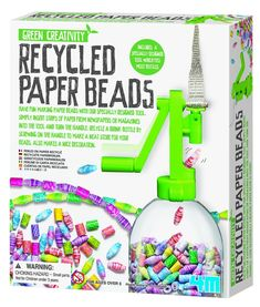 4M Recycled Paper Beads Kit | Recycle your unwanted magazines and newspapers with this creative beads kit. Add a plastic bottle to the tool, insert strips of paper you have ripped from magazines or newspapers, turn the handle and beads that you have created will fill in the bottle. Make colourful paper beads for necklaces, bracelets and other creative things!