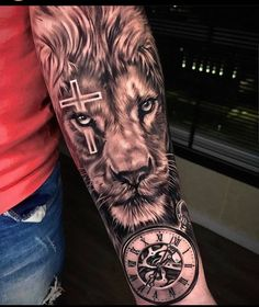 Leo Lion Tattoos, Lion Forearm Tattoos, Tattoos Arm Mann, Mens Lion Tattoo, Forarm Tattoos, Arm Tattoos For Guys, Lion Tattoos For Men, Tattos, Tiger Tattoo Sleeve