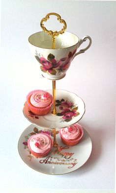 Exquisit Happy Anniversary 3 Tier Cake by TheVintageCakeStand, £46.00