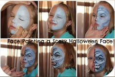 DIY HALLOWEEN IDEA:  Easy face painting tutorial!  Step by step scary face!  The boys really love this one!