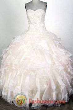 Exclusive Ball Gown Sweetheart  Floor-length Champange Quinceanera Dress LHJ42705