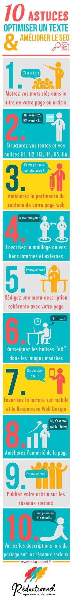 infographie 10 astuces pour optimiser un texte et ameliorer le seo