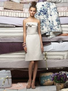 (NO.018659 )Sheath / Column Strapless Ruffles  Sleeveless Knee-length  Satin Ivory Bridesmaid Dress / Cocktail Dress / Homecoming Dress