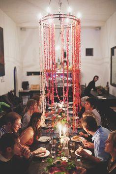 love this long organic colorful chandelier Paper Chandelier, Cool Chandeliers, Party Props, Party Ideas, Wedding Crashers, Wedding Reception, Wedding Shit, Wedding Decorations, Decor Wedding