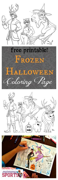 a FREE printable! Frozen Halloween Coloring Page. Exclusively at mommyinsports.com! #FROZEN #Halloween #freeprintable
