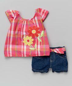 Orange Plaid Flower Top & Denim Shorts - Infant & Toddler