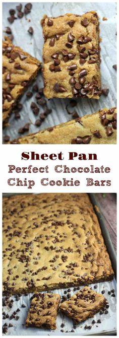 Sheet Pan Chocolate Chip Cookie Bars - sub gf flour (with xanthan gum) & use milk chocolate chips Cookies bars Sheet Pan Perfect Chocolate Chip Cookie Bars Desserts For A Crowd, Easy Desserts, Delicious Desserts, Yummy Food, Healthy Food, Eating Healthy, Easy Dessert Bars, Baking Desserts, Cookie Desserts