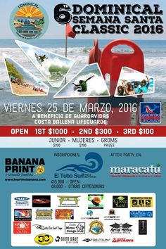 Semana Santa Classic Surf Contest 2016   On Friday March 25, 2016 - Celebrate Costa Rica's Holiday at the 6th Annual Semana Santa Surf Contest located in Dominical, Costa Rica. The purpose is to raise money for the Costa Ballena Lifeguards! #crsurf #dominical #semanasanta #costarica #easter #vacation #thingstodo